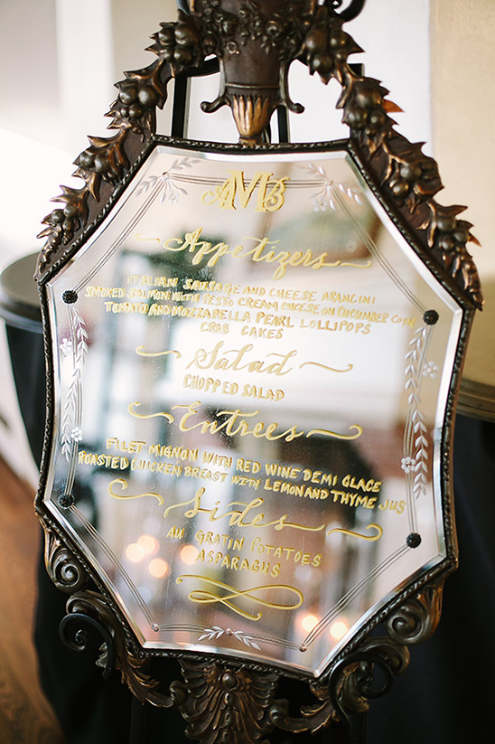 mirror dinner menu @weddingchicks