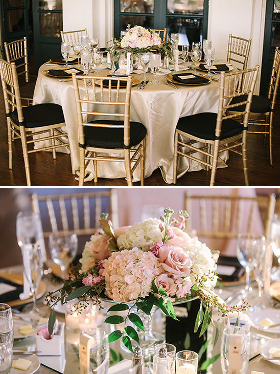 hydrangea and rose centerpiece @weddingchicks