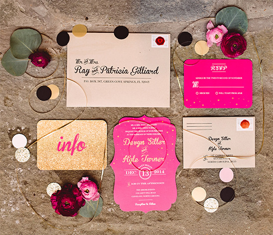 pink and gold wedding invites @weddingchicks