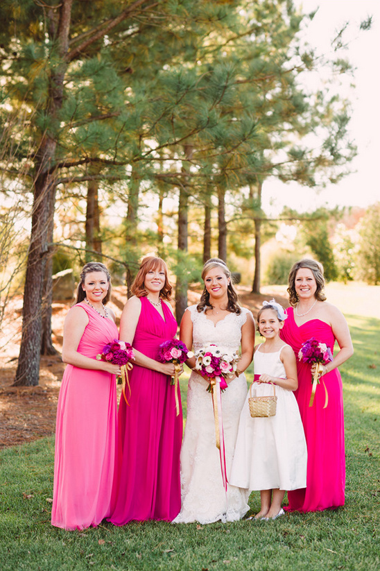 bright pink bridesmaid dresses @weddingchicks