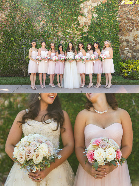 pink and peach bridesmaid dresses @weddingchicks