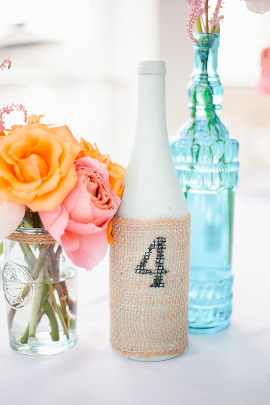 burlap bottle table number @weddingchicks