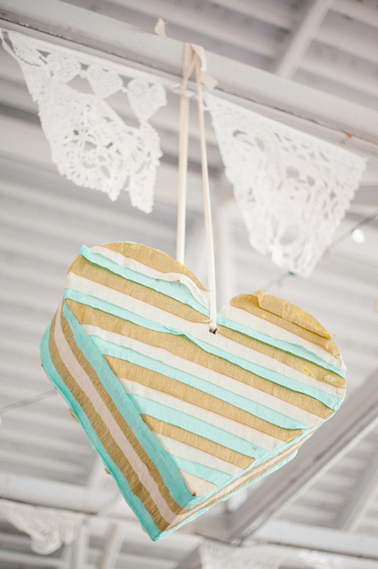 mint and gold heart pinata @weddingchicks