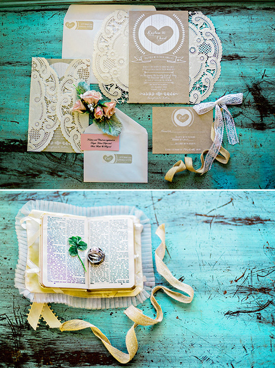 rustic lace wedding invitations @weddingchicks