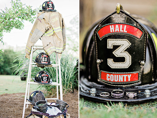 fire fighter wedding decor @weddingchicks