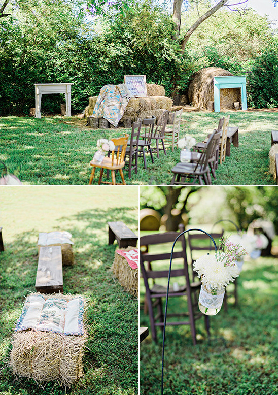 rustic hay bale decor @weddingchicks