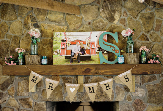 fireplace mantal decor @weddingchicks