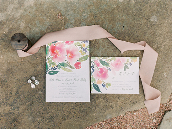 watercolor floral wedding invites @weddingchicks