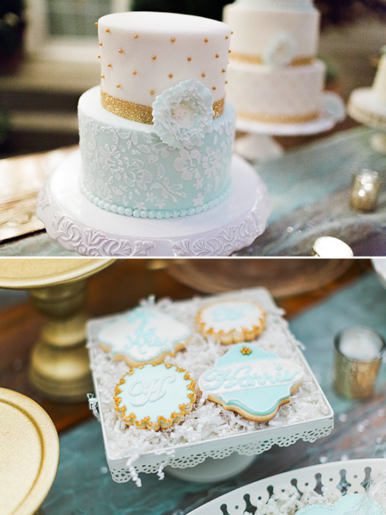 blue and gold dessert table @weddingchicks