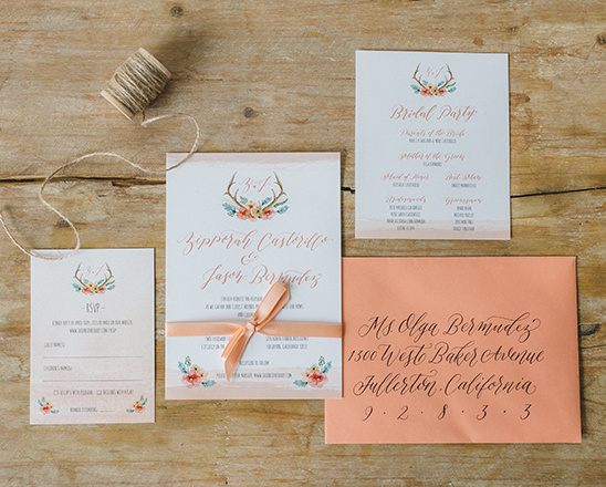 coral wedding invites @weddingchicks