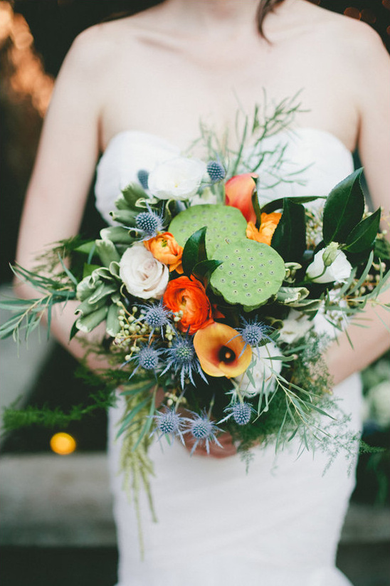 Lotus Pod and Thistle Bouquet - BridalPulse
