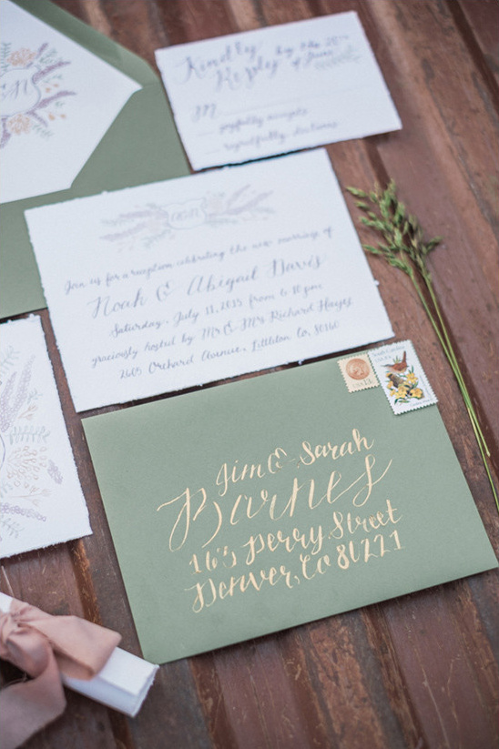 green wedding invitations @weddingchicks