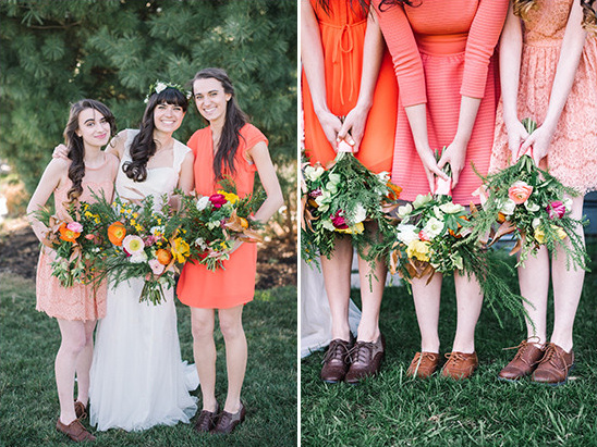 coral bridesmaids @weddingchicks