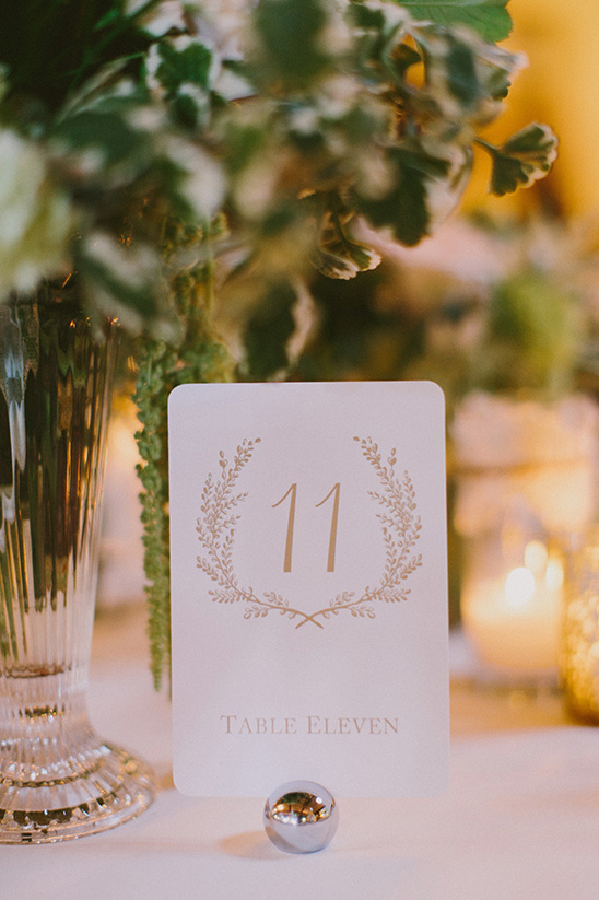 gold and white table number @weddingchicks