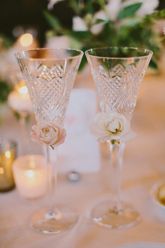 flower embellished toast glasses @weddingchicks