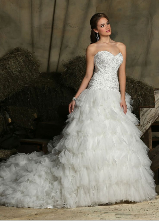 Fluffy fit and flare wedding dress from Davinci Bridal @weddingchicks