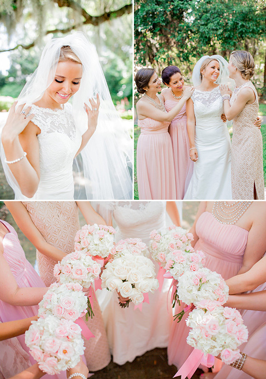pink and peach bridal party @weddingchicks