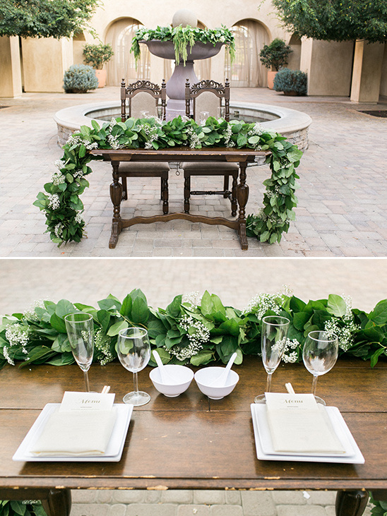 sweetheart table greenery garland @weddingchicks
