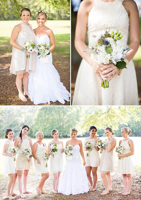 cream bridesmaid dresses @weddingchicks