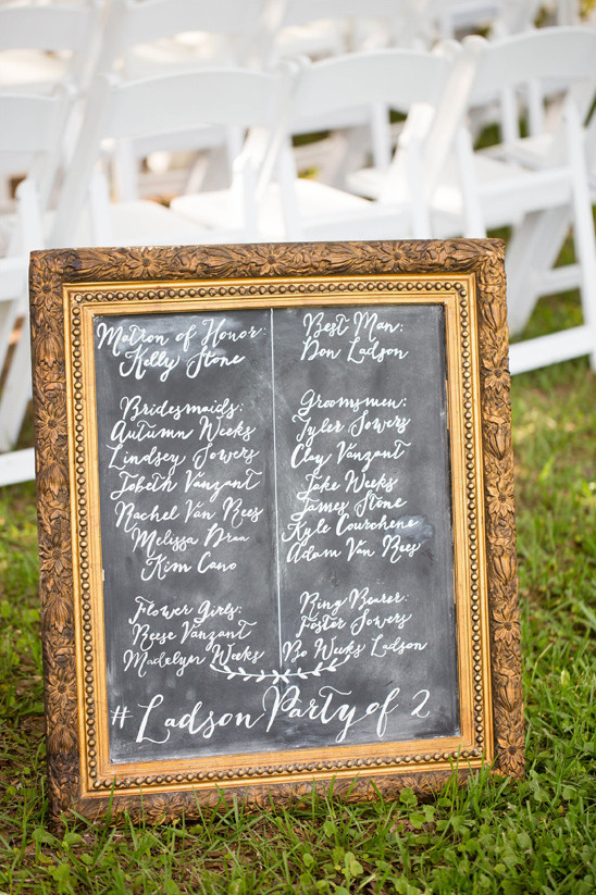 chalkboard wedding program @weddingchicks