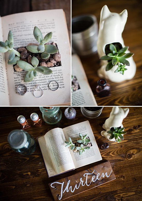 ecclectic succulent centerpiece @weddingchicks