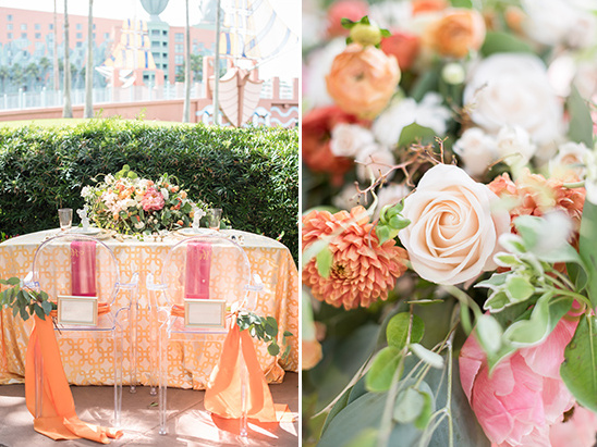 pink and orange wedding reception @weddingchicks