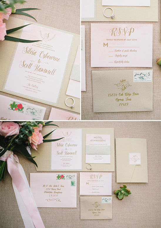 peach wedding invitations @weddingchicks