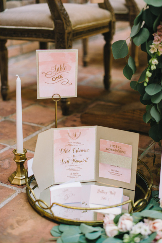 peach watercolor invitation suite @weddingchicks