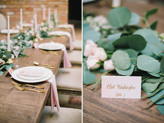 soft pink and gold table decor @weddingchicks