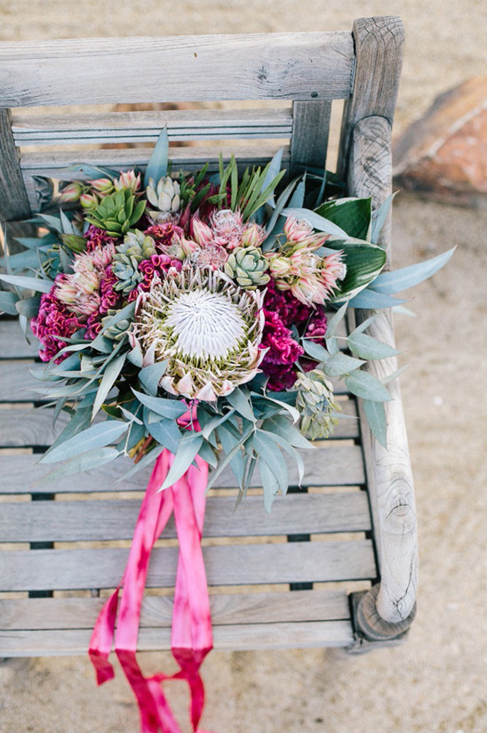protea and succulent bouquet @weddingchicks