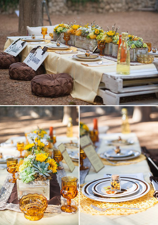 Pallet table for wedding reception @weddingchicks