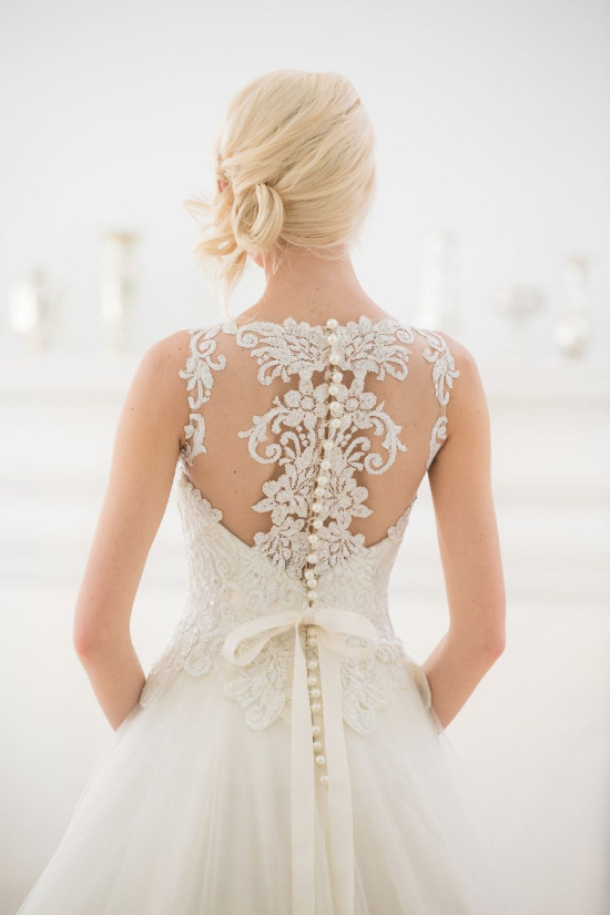 Illusion back wedding dress from Ever After Bridal @weddingchicks