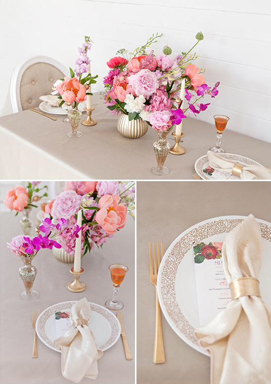 gold and pink table decor @weddingchicks
