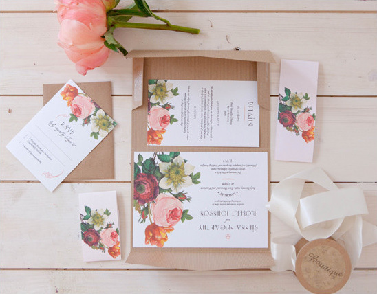 flower wedding stationery @weddingchicks