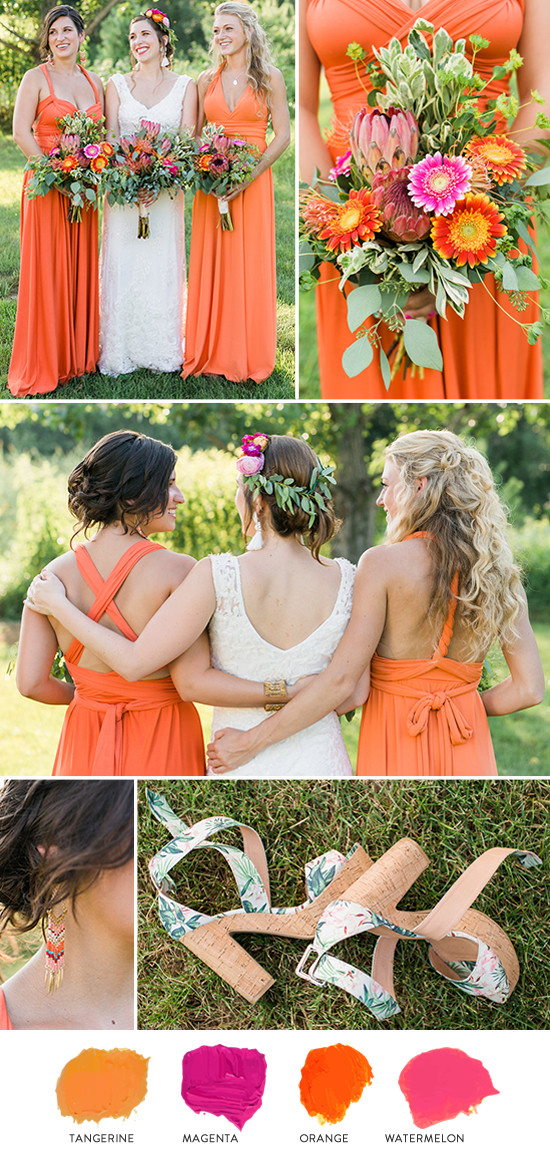 orange bridesmaid look @wedding chicks
