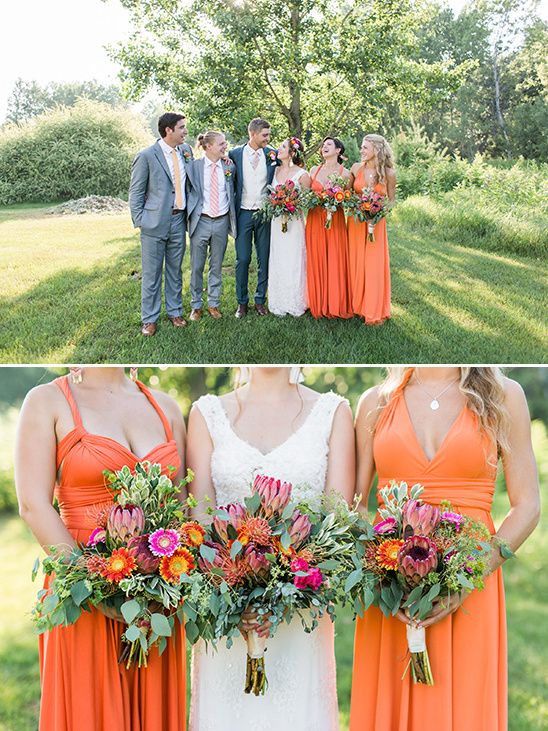bright orange bridesmaid dresses @weddingchicks