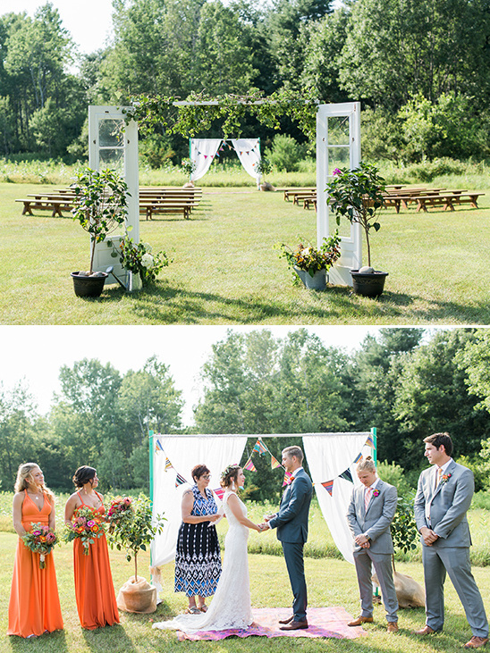 colorful bunting wedding ceremony @weddingchicks