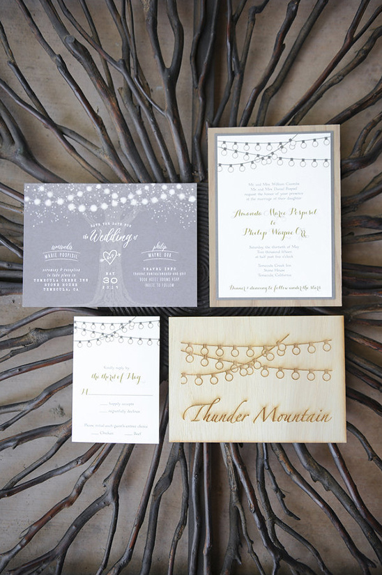hanging light wedding stationery @weddingchicks