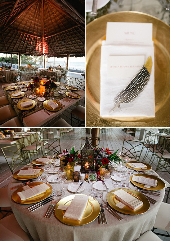 romantic gold table decor @weddingchicks