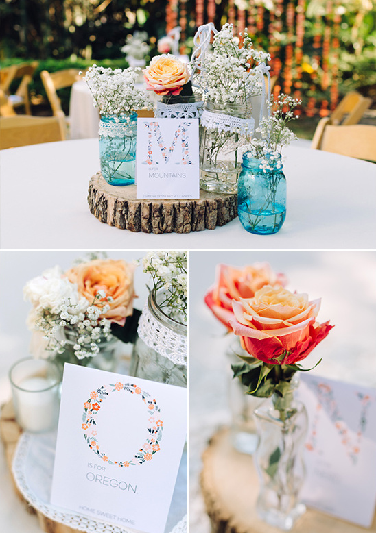 Mason jar centerpieces @weddingchicks