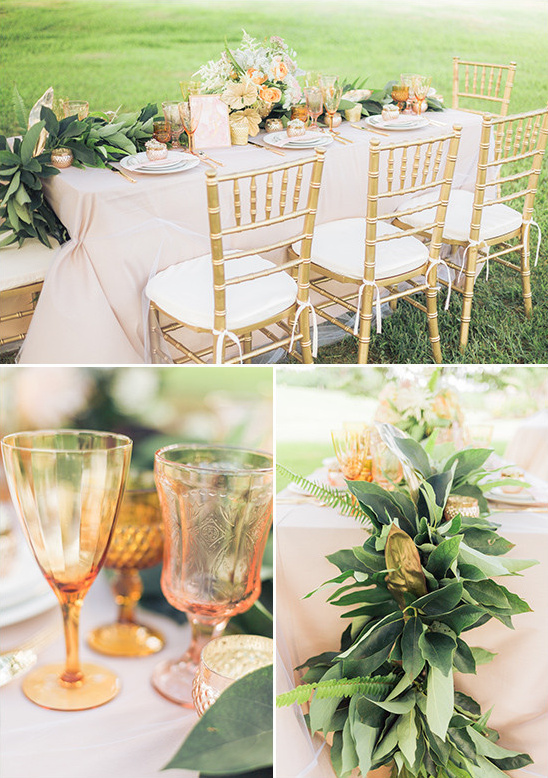 Gold And Peach Table Decor Weddings