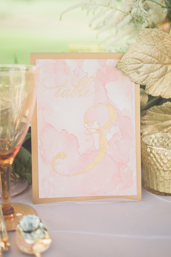 gold and pink watercolor table number @weddingchicks