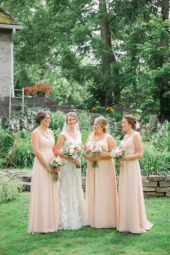 Green and Peach Vintage Bridesmaids Dresses