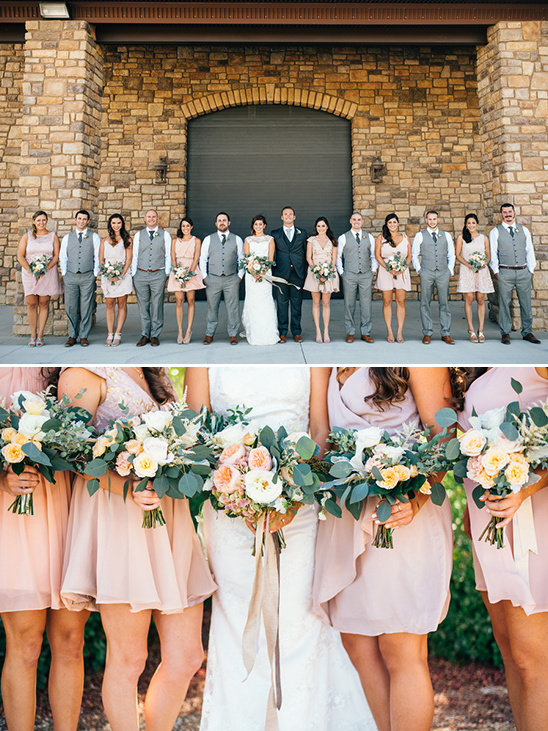 Blush and grey wedding parties