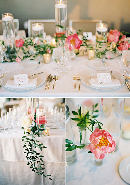 pink and gold table decor @weddingchicks