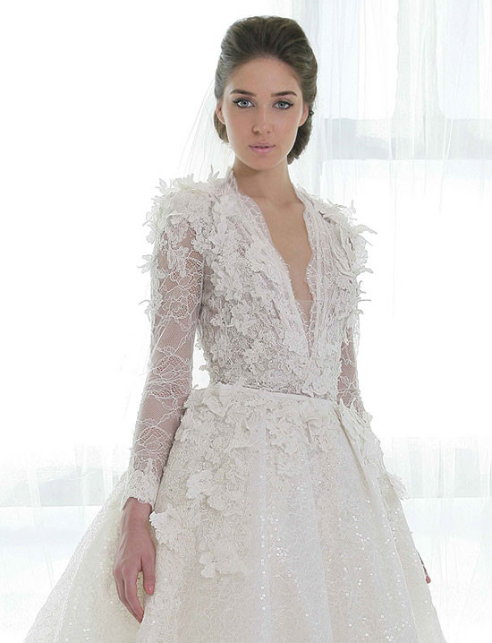 long sleeve Ziad Nakad wedding dress @weddingchicks