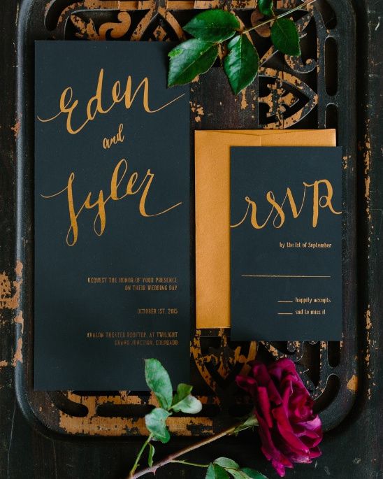 gold and black wedding stationery @weddingchicks