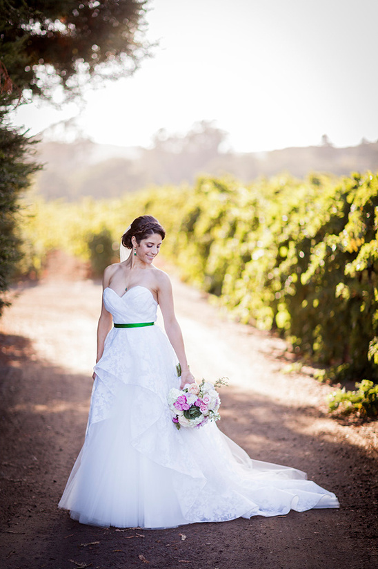 wedding dress with green sash @weddingchicks