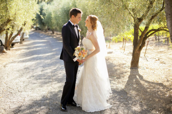 Green and Peach Winery Wedding