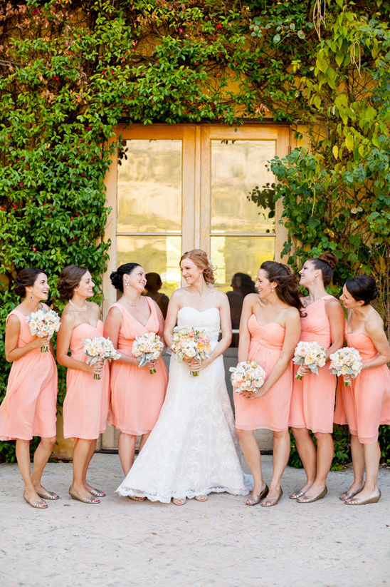 peach bridesmaids @weddingchicks